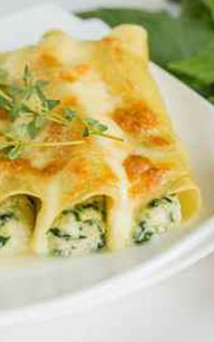 Canelones con queso ricotta y espinaca