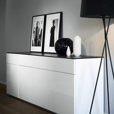 glamorous black and white storage for the bedroom - Ikea Besta would give something similar using the black glass top panel