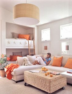 Amazing family room by Suzanne Kasler.love the family room bunk beds!~ my personal opinion is that is is a super fun idea . not exactly sure about the white. actually not getting the white for a family room setting. but love the idea! Bunk Beds Built In, Kids Bunk Beds, Loft Beds, Coastal Living Rooms, Living Spaces, Coastal Rugs, Coastal Bedding, Modern Coastal, Cottage Living