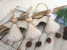 Christmas Ornament rustic angel  set of 3 by Mydaisy2000 on Etsy