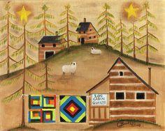 Log Cabin Quilt Maker star sheep Folk Art Print - Cheryl Bartley