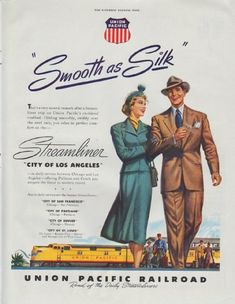 """Description: 1948 UNION PACIFIC RAILROAD vintage print advertisement """"Smooth as Silk"""" -- """"Smooth as Silk"""" ... That's a very natural remark after a Streamliner trip on Union Pacific's cushioned roadbed. Gliding smoothly, swiftly over the steel rails, you relax in perfect comfort on the -- Streamliner """"City of Los Angeles"""" -- Size: The dimensions of the full-page advertisement are approximately 10.5 inches x 13.5 inches (26.75 cm x 34.25 cm). Condition: This original vintage full-page…"""