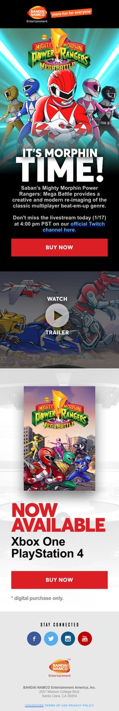 A handpicked selection of beautiful email designs and content ideas. Go Go Power Rangers, Responsive Email, Watch Trailer, Goal Digger, Email Design, Xbox One, Coding, Awesome, Programming