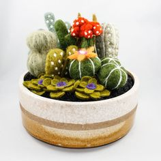 Felted Cactus Garden White & Yellow Glazed Pot by OnceAgainSam