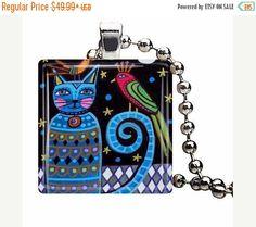 Cat Jewelry Necklace  Blue Cat Art Jewelry by HeatherGallerArt