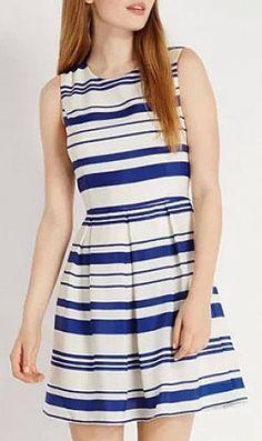 White Sleeveless Striped Round Collar Dress