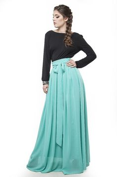 Mint Blue Skirt Maxi.Party Floor Length by FashionDress8 on Etsy