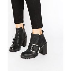 Office Apex Buckle Leather Chunky Heeled Ankle Boots (380 RON) ❤ liked on Polyvore featuring shoes, boots, ankle booties, black, black high heel booties, black booties, leather ankle boots, black leather bootie and black high heel boots