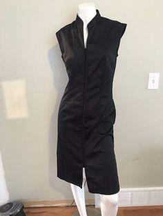 EUC Jacob little black dress size 1/2 asian collar snaps sexy good quality #Jacob #Sexy #LittleBlackDress