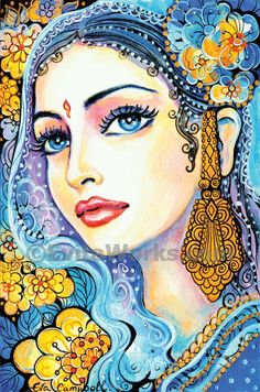 beautiful Indian woman painting Indian decor feminine beauty Indian bride art print affordable art gifts artprint giclee 4x6 7x10.5