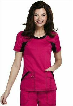 Dickies Performance System v-neck scrub top. Office Uniform, Medical Uniforms, Scrub Tops, Scrubs, Work Wear, Peplum Dress, V Neck, Street Style, Outfits