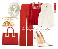 """""""Red Hijab Outfit"""" by le-hijab-de-doudou ❤ liked on Polyvore featuring Old Navy, WearAll, Phase Eight, DKNY, Bisjoux, Sophie Hulme, Christian Louboutin, Too Faced Cosmetics, Tiffany & Co. and Shaun Leane"""