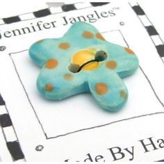 Flower Button - Handmade Ceramic Turquoise 1 inch | Jennifer Jangles