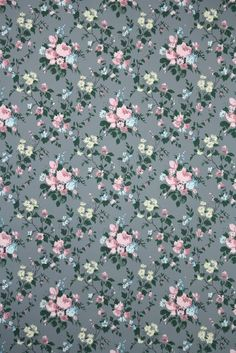 1950s floral vintage wallpaper gray and pink roses from Hannah's Treasures