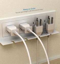 Hang On Outlet... Use only when needed... Unplug, clip neatly on this holder and save money