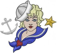 Nautical Embroidery Design: Sailor Girl from Machine Embroidery Designs