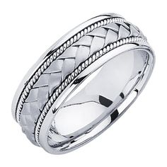 14K White Gold 8mm Braided Rope Comfort Fit Handbraided Designer Wedding Band Ring for Men & Women - size 12 price - wedding ring hand | ring engagement finger