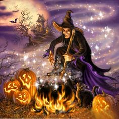 """Fast delivery Full Square/Round Drill DIY Diamond Painting """"Magic Witch"""" Embroidery Cross Stitch Home Decor Halloween Gift Retro Halloween, Scary Halloween, Halloween Pumpkins, Witch Pumpkins, Halloween Stuff, Spooky Halloween Pictures, Happy Halloween, Witch Pictures, Halloween Design"""