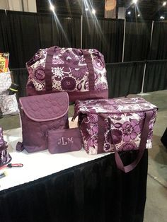 Thirty-One Fall Catalog Retro Metro Weekender in Plum Awesome Blossom, Vary You Backpack purse in Plum Quilted Dots, Mini Zipper Pouch in Plum Gingham Pop and Fresh Market Thermal in Plum Awesome Blossom