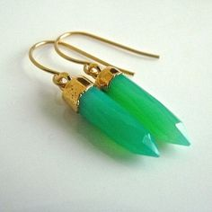 Chrysoprase Green Stone Crystal Point Dangle by JeweltoneJewelry, $52.00