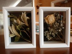 I dried my wedding bouquet and placed some of the flowers in small (5x7) shadow boxes. The boxes are deep enough so the flowers don't become flattened. I picked a rose and paired it with baby's breath and put the lilies with some of the green leaves. The boxes came with a nice velour backing that really adds contrast to the flowers!
