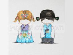 Custom order -Cutie Korean Hanbok couple- original hand drawing by Yu Yu Art at Etsy $30.00