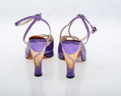 Vintage Shoes 40s Purple Leather Platform Shoes 6N. $150.00, via Etsy.