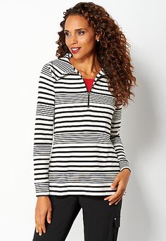 Relaxed Restyled Stripe 2fer Top, 9-0036304057, Relaxed Restyled Stripe 2fer Main View PDP