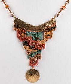 Hand-hammered brass ornaments, with silk, bamboo and cotton fibers, carnelian, . Fiber Art Jewelry, Textile Jewelry, Macrame Jewelry, Fabric Jewelry, Tribal Jewelry, Boho Jewelry, Jewelry Art, Jewellery, Pin Weaving