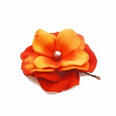 Red Orange Flower Hair Pin -- Autumn Hydrangea Flower Hair Clip / Bobby Pin - Wedding Accessory via Etsy