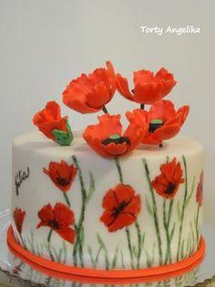 Poppy flower cake - cake by AngieK Edible Flowers Cake, Flower Cake Decorations, Flower Cake Toppers, Wedding Cakes With Flowers, Flower Cakes, Cake Wedding, Flower Basket Cake, Fresh Flower Cake, Cake Basket