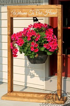 20 DIY Porch Decorating Ideas to Make Your Home More Inviting:bring your styling to your own front porch and make your home more inviting from the curb. Hanging Baskets, Hanging Planters, Hanging Wire, Hanging Basket Stand, Outdoor Projects, Wood Projects, Outdoor Ideas, Outdoor Decorations, Wood Plant Stand