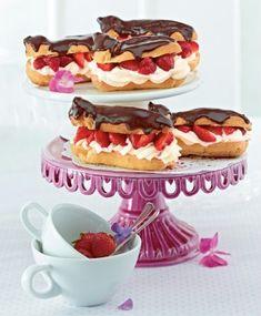 Eclairs mit Erdbeeren und Sahnepudding Rezept