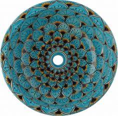 Peacock Turquoise Talavera Ceramic Round Drop-In Bathroom Sink Drop In Bathroom Sinks, Green Bathrooms, Bathroom Goals, Bathroom Ideas, Turquoise Tile, Mexican Ceramics, Talavera Pottery, Bowl Sink, Ceramic Sink