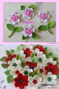 Crochet Applique Poppy Flowers and Leaves Set - Flowers In The Meadows