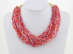 Chunky Necklace Red Statement Necklace Multi Strands by eBijoux, $9.99