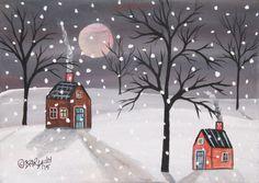 Snowy Night ORIGINAL Canvas Panel PAINTING FOLK ART 5 x 7 Cabins Karla Gerard #FolkArtAbstractPrimitive