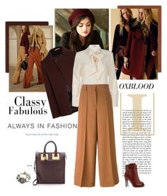 """Trend: Oxblood color"" by dmschar ❤ liked on Polyvore featuring Lanvin, ANJI MOUNTAIN, Kaleen, Nicole Farhi, Frame Denim, Forte Forte, Sophie Hulme and Tory Burch"