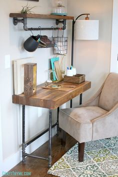 DIY Desks - Custom Industrial Wooden Desk - Easy To Make Do It Yourself Desk Projects With Step by Step tutorials - Rustic Wood Pallet, Farmhouse Style Furniture, Upcycling Makeover Project Plans - Standing Computer Desks Farmhouse Style Furniture, Farmhouse Desk, Vintage Industrial Furniture, Industrial House, Industrial Farmhouse, Industrial Shelving, Modern Industrial, Industrial Office, Industrial Lighting