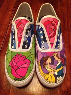 Hand Painted Beauty and the Beast Shoes by NataliesCustomShoes, $48.00