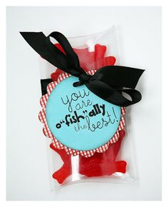 Swedish fish and a cute note make a fun, low-cost appreciation gift. *CC