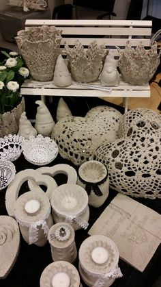 There are some pretty cool things on this site done with cement and doilies, etc
