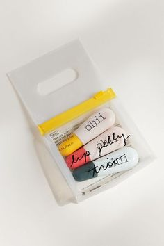 An ohii moisturizing lip jelly gift set formulated with castor seed oil and shea butter to keep their pout hydrated through the cold, dry winter. 31 Gifts From Urban Outfitters That Just Might Make You Gift-Giver Of The Year Skincare Packaging, Beauty Packaging, Cosmetic Packaging, Packaging Design, Branding Design, Soap Packaging, Pretty Packaging, Product Packaging, Packaging Ideas