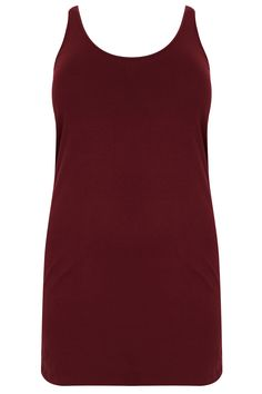 Burgundy Longline Vest Top Plus size 16,18,20,22,24,26,28,30,32,34,36
