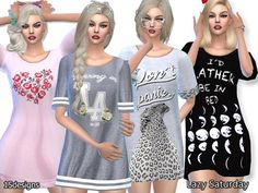The Sims Resource: Lazy Saturday Sleep Tee Pack by Pinkzombiecupcake • Sims 4 Downloads