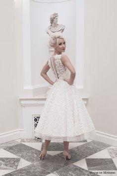 house of mooshki bridal autumn 2014 dara sleeveless blush calf length wedding dress back view