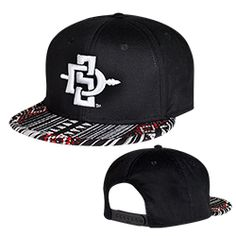 0cc4f2c0 Flatbill snapback hat with Aztec print bill, featuring a 3D embroidered  interlocking SD Spear logo