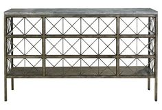 Alaina Console, Gunmetal, Stunning and sleek, this steel console displays a gridded frame and X-shaped supports below a swirling bluestone top. A gunmetal finish adds a touch of industrial charm. Entry Furniture, Large Furniture, Online Furniture, Living Room Furniture, Home Furniture, Furniture Design, Dining Rooms, Furniture Sets, Modern Furniture
