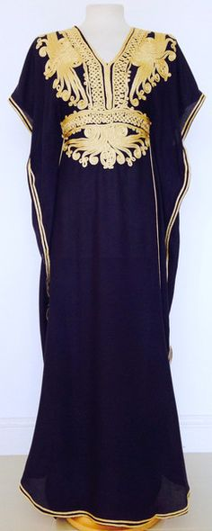 Navy & Gold Moroccan Kaftan perfect for summer, beach