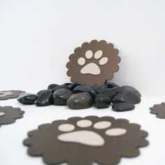 Paw Print Embellishments 5 Handmade Scrapbooking Decorations 10% to SOAR Charity, $2.42 by FairyCardmaker